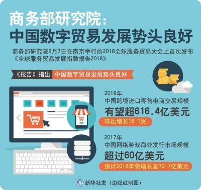 商务部研究院:中国数字贸易发展势头良好