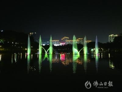 三水西南公园音乐喷泉升级版惊艳亮相 水柱最高超30米