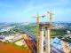 连接美高梅娱乐官网江门 南沙港铁路跨西江斜拉桥施工有新进展