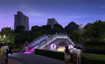七夕到文华公园鹊桥相会  两处互动景观灯饰试亮灯