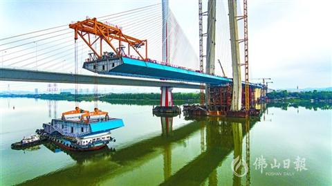 南沙港鐵路跨西江斜拉橋即將合龍  鋼箱梁施工超六成